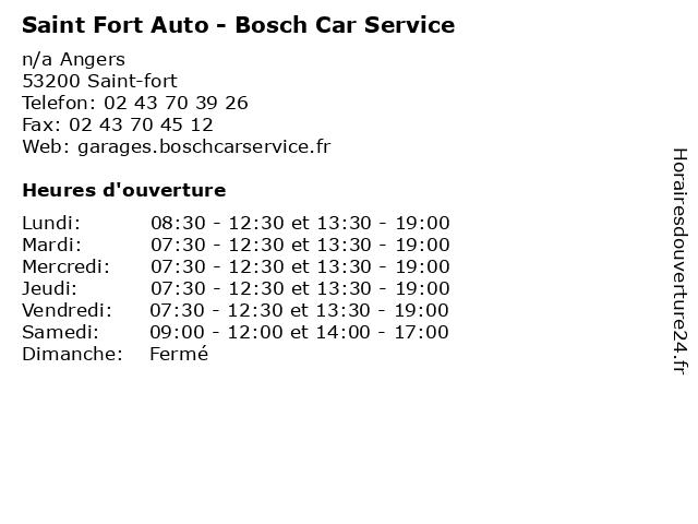 Saint Fort Auto - Bosch Car Service à Saint-fort: adresse et heures d'ouverture