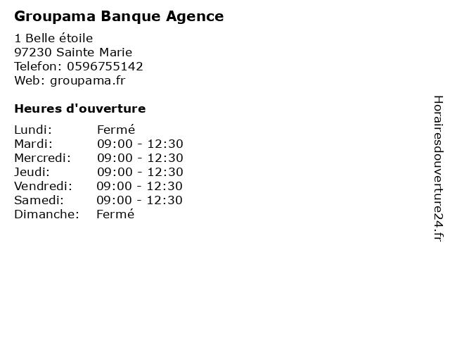 Groupama Banque Agence à Sainte Marie: adresse et heures d'ouverture