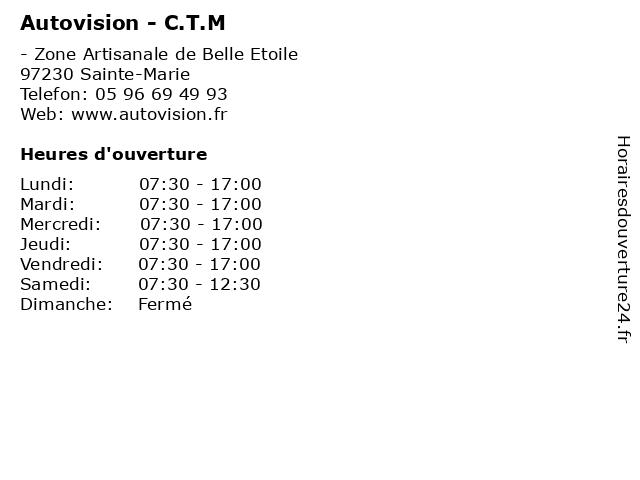 Autovision - C.T.M à Sainte-Marie: adresse et heures d'ouverture