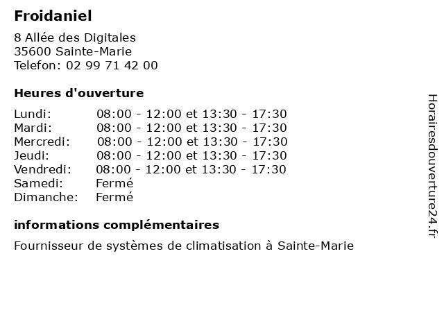Froidaniel à Sainte-Marie: adresse et heures d'ouverture