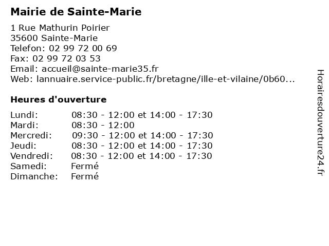 Mairie de Sainte-Marie à Sainte-Marie: adresse et heures d'ouverture