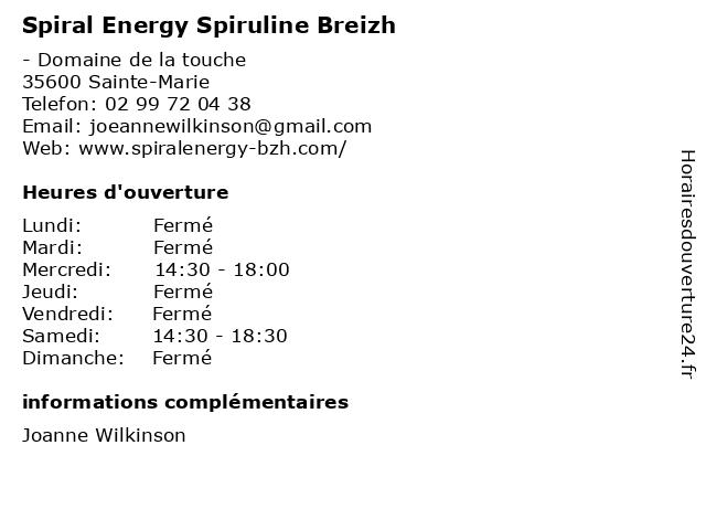 Spiral Energy Spiruline Breizh à Sainte-Marie: adresse et heures d'ouverture