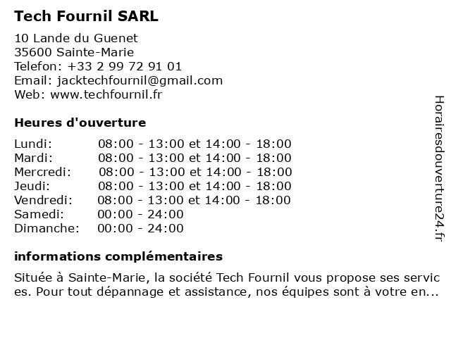 Tech Fournil SARL à Sainte-Marie: adresse et heures d'ouverture