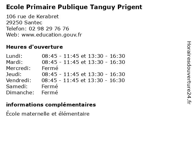 Ecole Primaire Publique Tanguy Prigent à Santec: adresse et heures d'ouverture