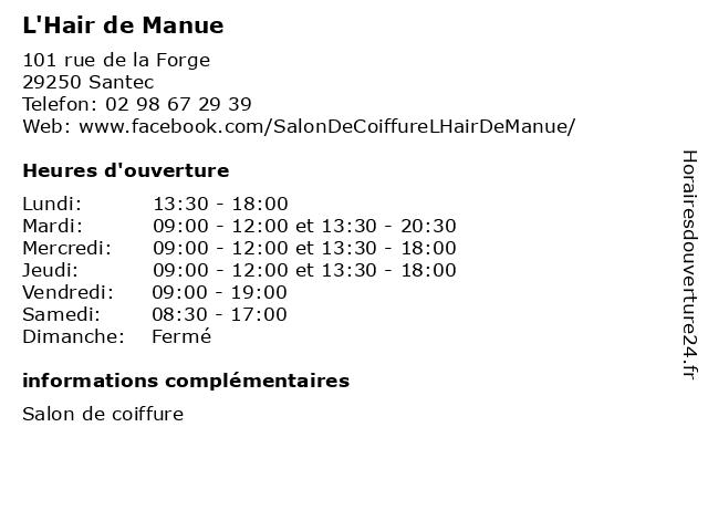 L'Hair de Manue à Santec: adresse et heures d'ouverture
