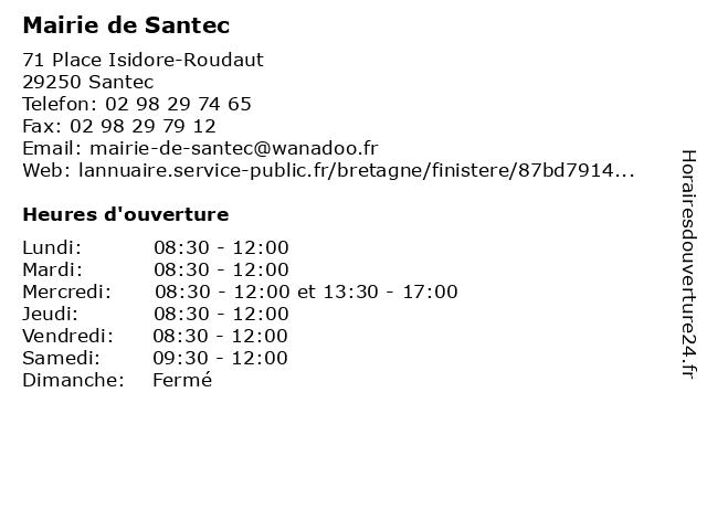 Mairie de Santec à Santec: adresse et heures d'ouverture
