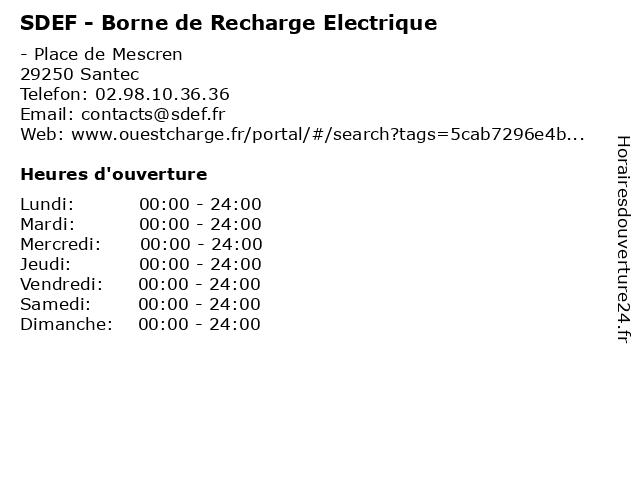 SDEF - Borne de Recharge Electrique à Santec: adresse et heures d'ouverture