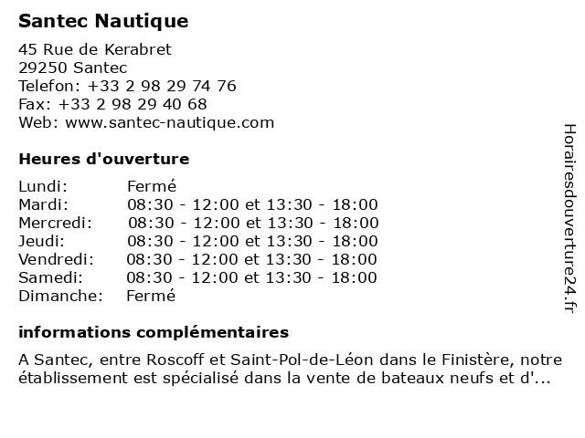 Santec Nautique à Santec: adresse et heures d'ouverture