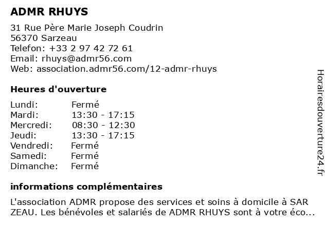 ADMR RHUYS à Sarzeau: adresse et heures d'ouverture