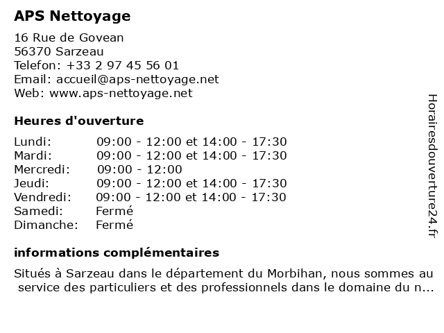 APS Nettoyage à Sarzeau: adresse et heures d'ouverture