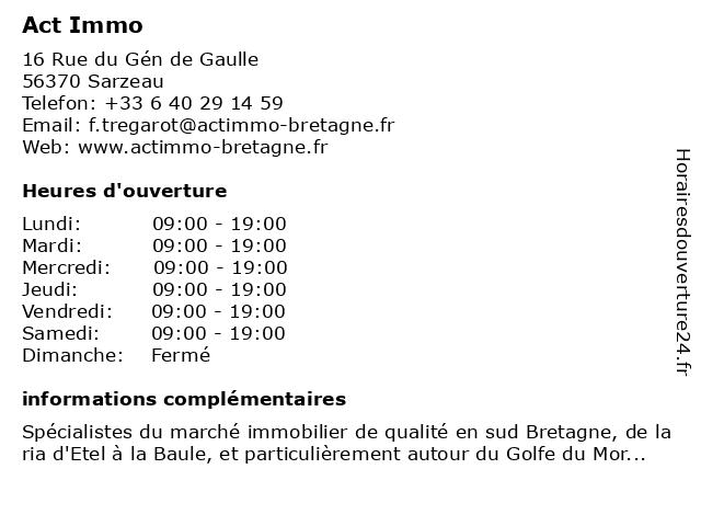 Act'Immo à Sarzeau: adresse et heures d'ouverture