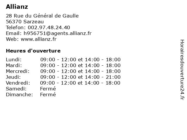 Allianz à Sarzeau: adresse et heures d'ouverture