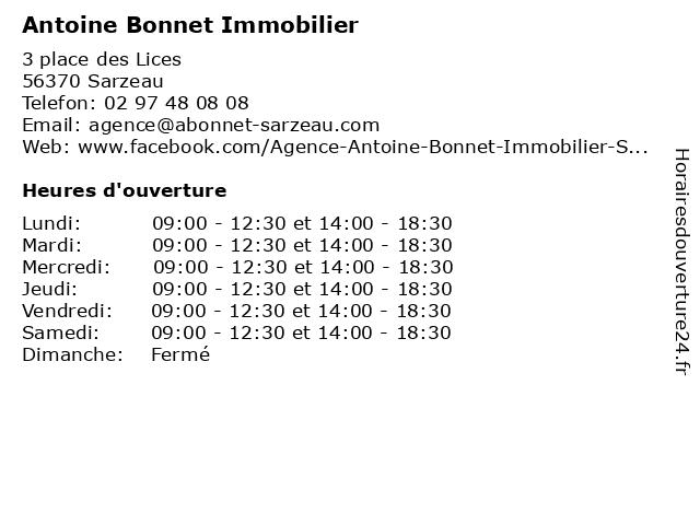 Antoine Bonnet Immobilier à Sarzeau: adresse et heures d'ouverture