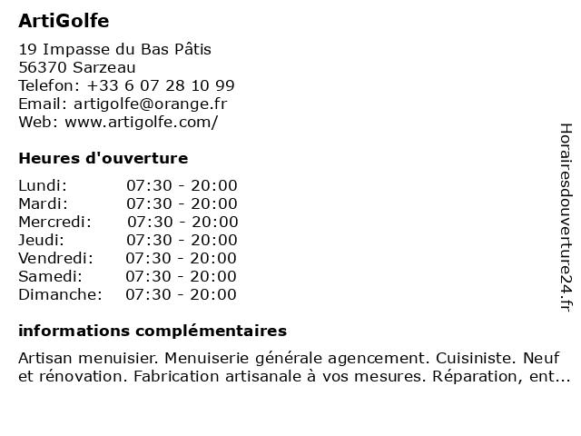 ArtiGolfe à Sarzeau: adresse et heures d'ouverture