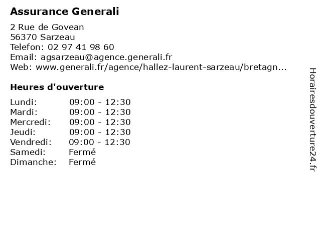 Assurance Generali à Sarzeau: adresse et heures d'ouverture