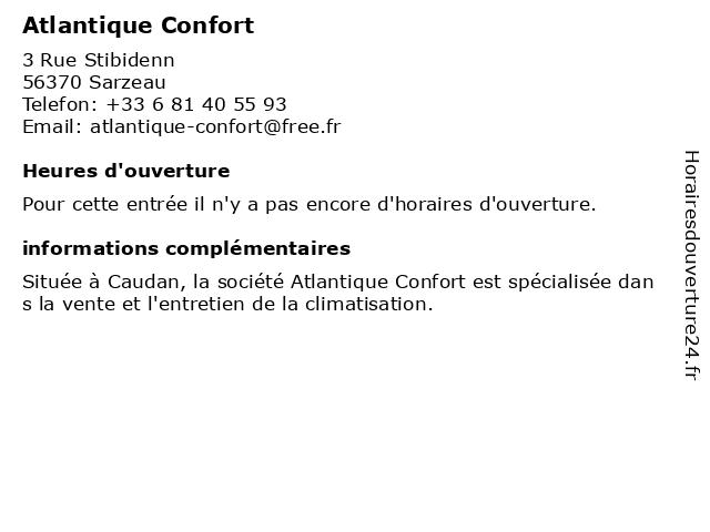 Atlantique Confort à Sarzeau: adresse et heures d'ouverture
