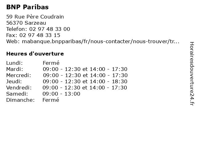 BNP Paribas à Sarzeau: adresse et heures d'ouverture