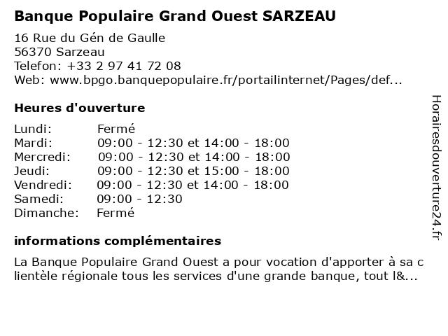 Banque Populaire Grand Ouest SARZEAU à Sarzeau: adresse et heures d'ouverture