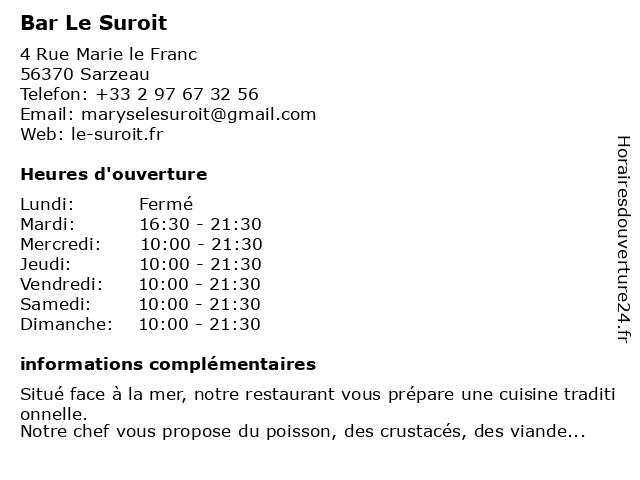 Bar Le Suroit à Sarzeau: adresse et heures d'ouverture