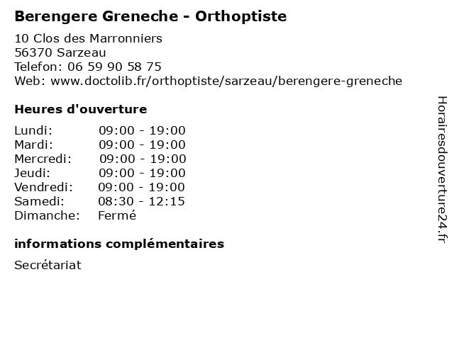 Berengere Greneche - Orthoptiste à Sarzeau: adresse et heures d'ouverture