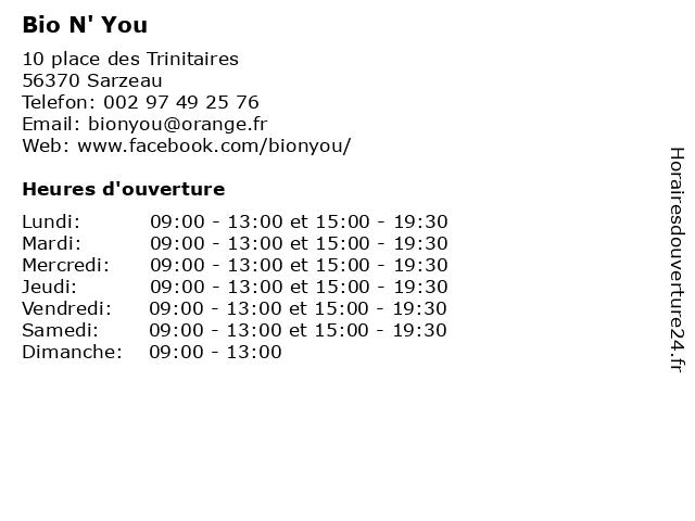 Bio N' You à Sarzeau: adresse et heures d'ouverture