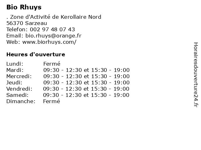 Bio Rhuys à Sarzeau: adresse et heures d'ouverture