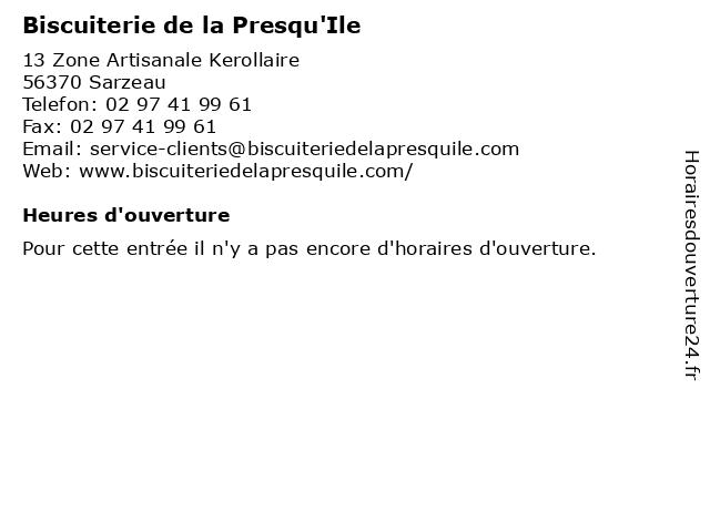 Biscuiterie de la Presqu'Ile à Sarzeau: adresse et heures d'ouverture