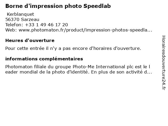 Borne d'impression photo Speedlab à Sarzeau: adresse et heures d'ouverture