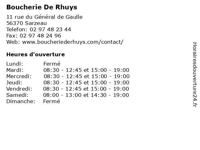 Boucherie De Rhuys à Sarzeau: adresse et heures d'ouverture