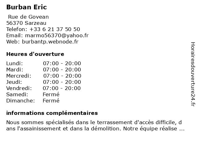 Burban Eric à Sarzeau: adresse et heures d'ouverture
