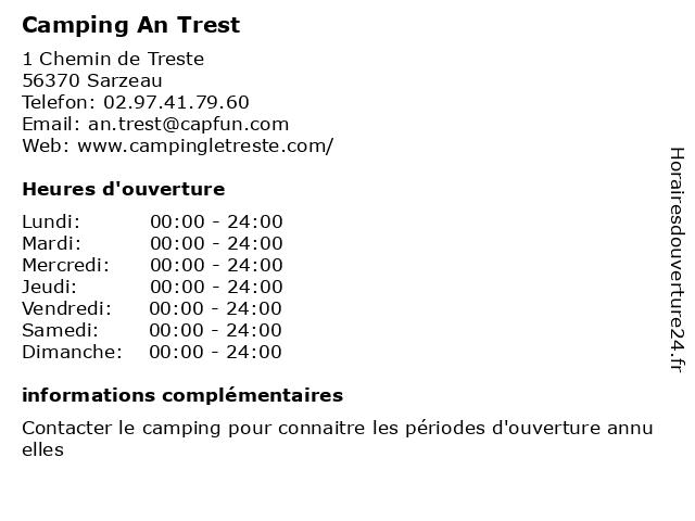 Camping An Trest à Sarzeau: adresse et heures d'ouverture