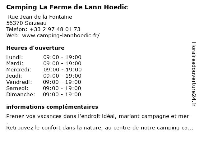 Camping La Ferme de Lann Hoedic à Sarzeau: adresse et heures d'ouverture