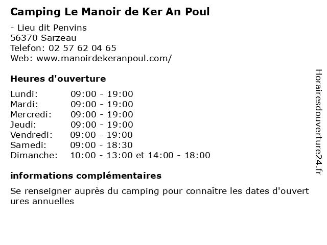 Camping Le Manoir de Ker An Poul à Sarzeau: adresse et heures d'ouverture