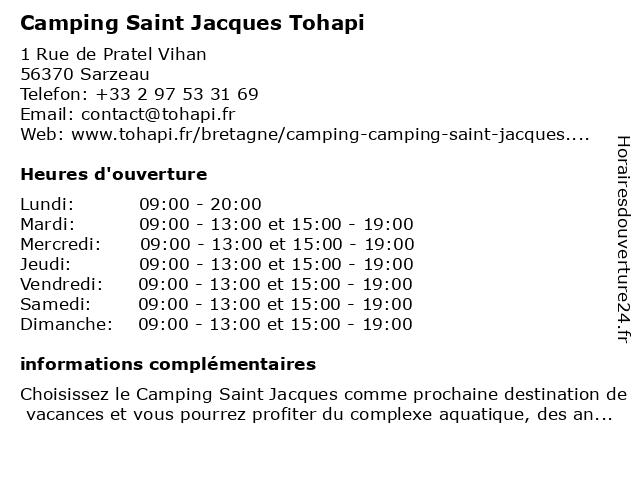 Camping Saint Jacques Tohapi à Sarzeau: adresse et heures d'ouverture