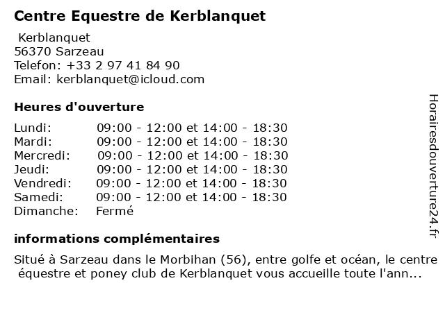 Centre Equestre Kerblanquet EARL à Sarzeau: adresse et heures d'ouverture