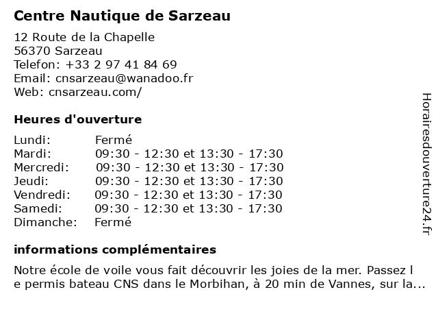 Centre Nautique de Sarzeau à Sarzeau: adresse et heures d'ouverture