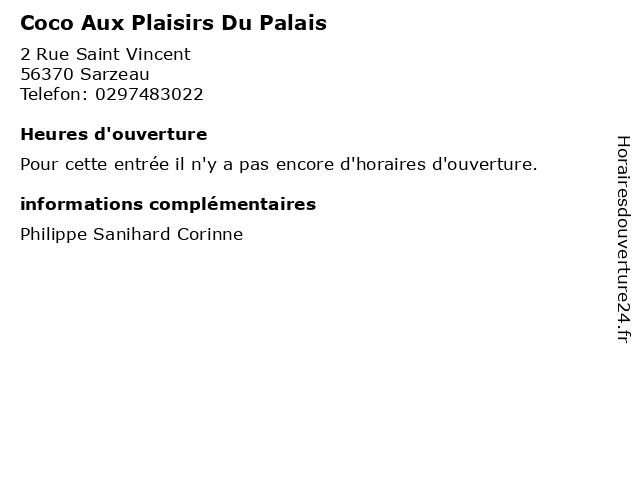 Coco Aux Plaisirs Du Palais à Sarzeau: adresse et heures d'ouverture