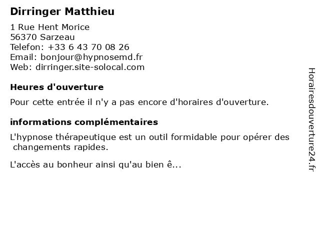 Dirringer Matthieu à Sarzeau: adresse et heures d'ouverture