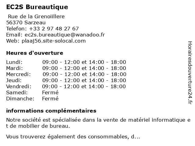 EC2S Bureautique à Sarzeau: adresse et heures d'ouverture