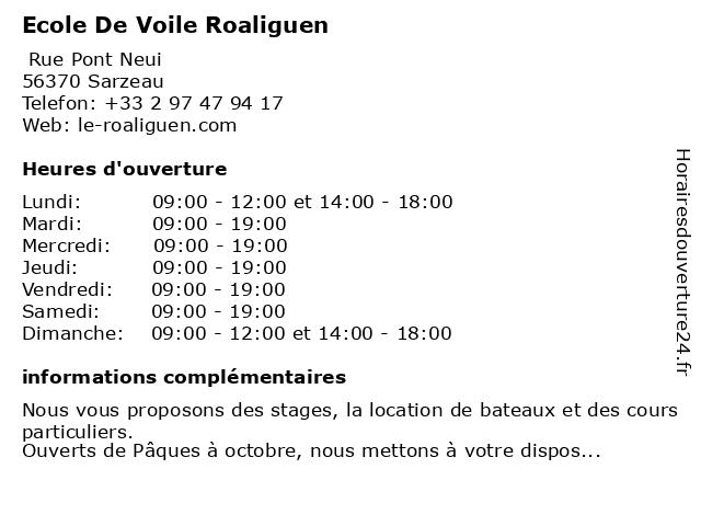 Ecole De Voile Roaliguen à Sarzeau: adresse et heures d'ouverture