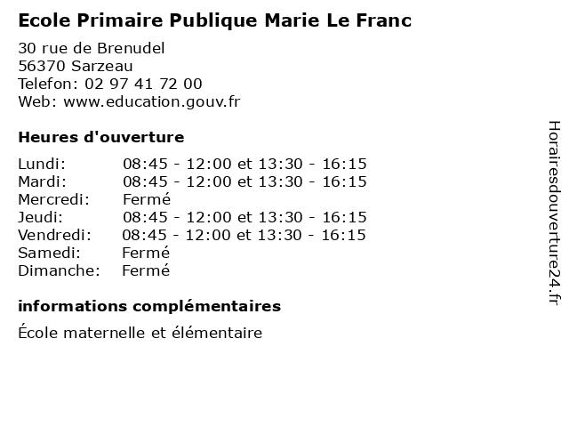 Ecole Primaire Publique Marie Le Franc à Sarzeau: adresse et heures d'ouverture