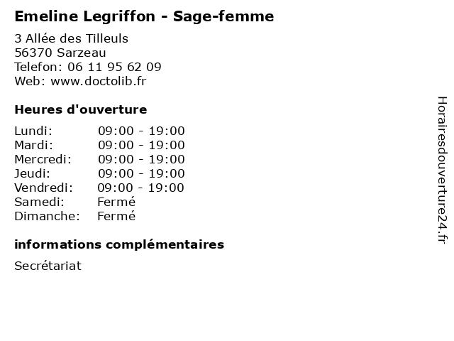 Emeline Legriffon - Sage-femme à Sarzeau: adresse et heures d'ouverture