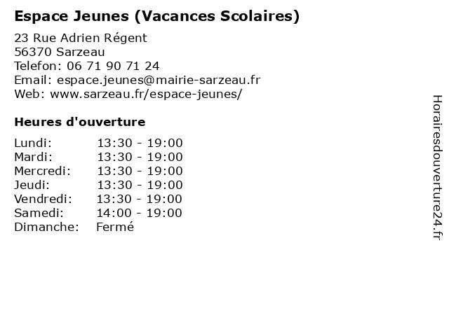 Espace Jeunes (Vacances Scolaires) à Sarzeau: adresse et heures d'ouverture