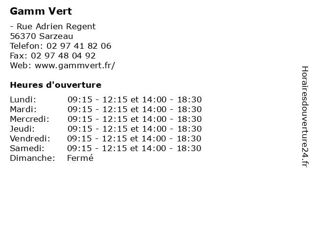Gamm Vert à Sarzeau: adresse et heures d'ouverture