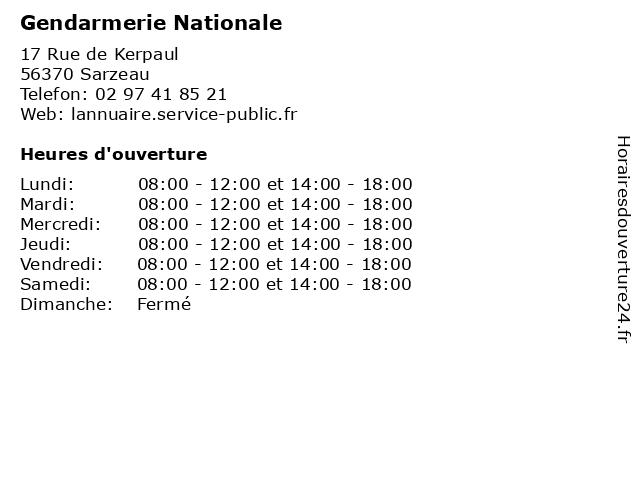 Gendarmerie Nationale à Sarzeau: adresse et heures d'ouverture