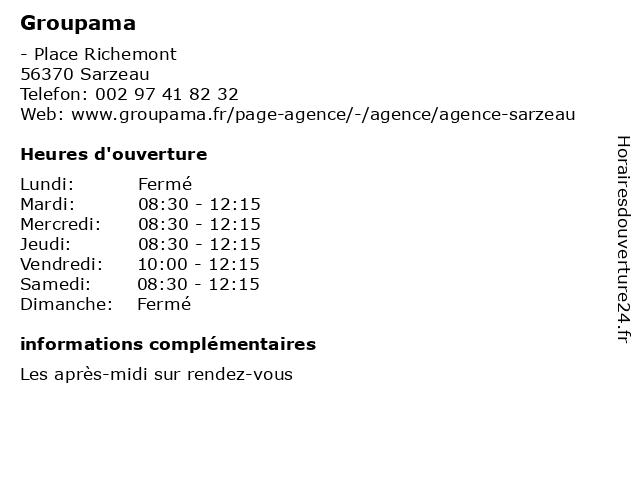Groupama à Sarzeau: adresse et heures d'ouverture