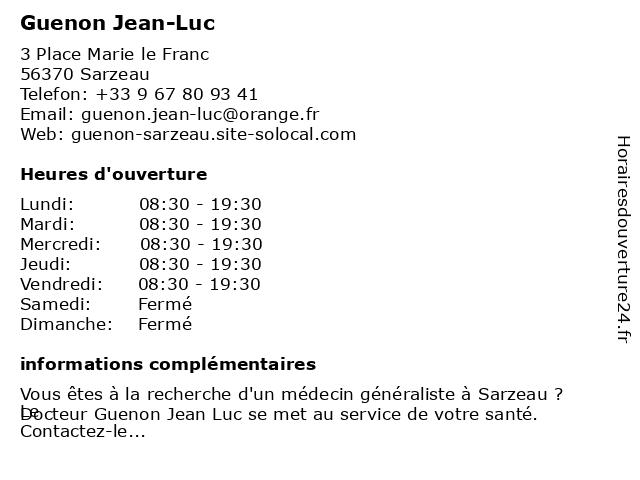 Guenon Jean-Luc à Sarzeau: adresse et heures d'ouverture