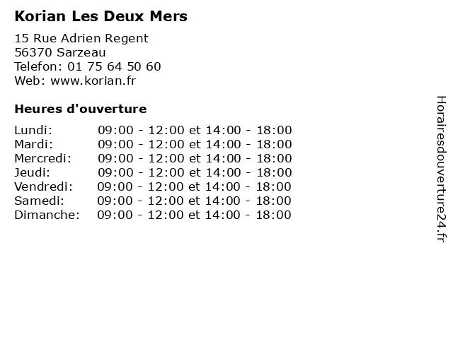 Korian Les Deux Mers à Sarzeau: adresse et heures d'ouverture