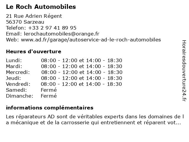 LE ROCH AUTOMOBILES à Sarzeau: adresse et heures d'ouverture