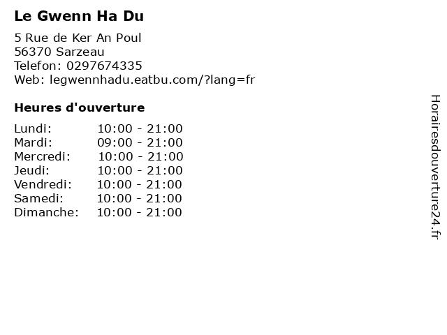 Le Gwenn Ha Du à Sarzeau: adresse et heures d'ouverture